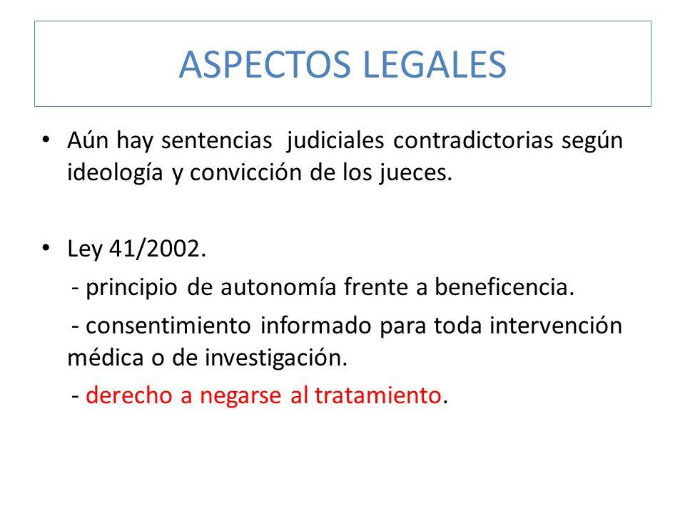 ASPECTOS LEGALES Aún hay sentencias judiciales contradictorias según ideología y convicción de los jueces. Ley 41/2002. - principio de autonomía frent