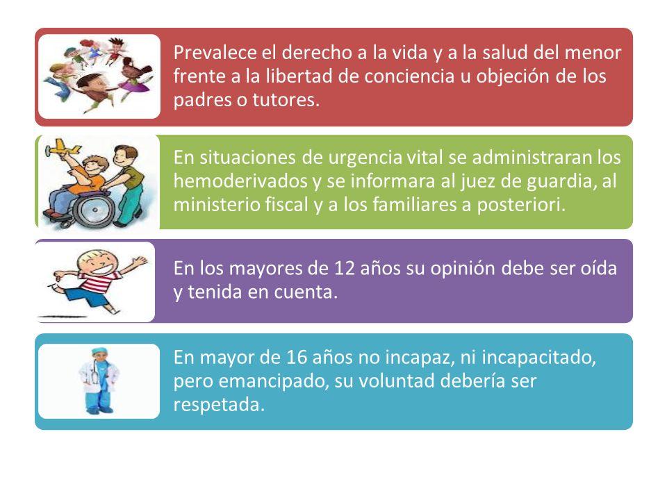 Prevalece el derecho a la vida y a la salud del menor frente a la libertad de conciencia u objeción de los padres o tutores. En situaciones de urgenci