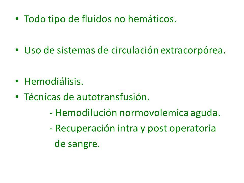 Todo tipo de fluidos no hemáticos. Uso de sistemas de circulación extracorpórea. Hemodiálisis. Técnicas de autotransfusión. - Hemodilución normovolemi