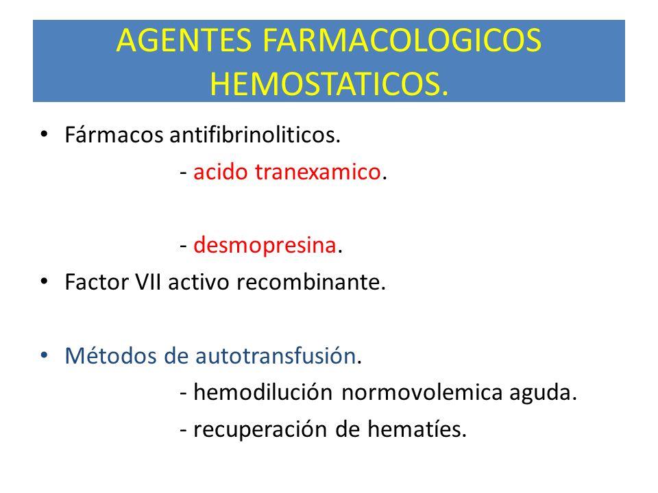 AGENTES FARMACOLOGICOS HEMOSTATICOS. Fármacos antifibrinoliticos. - acido tranexamico. - desmopresina. Factor VII activo recombinante. Métodos de auto