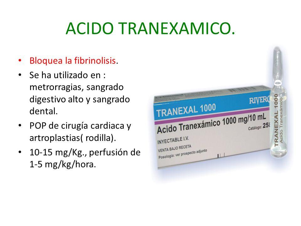 ACIDO TRANEXAMICO. Bloquea la fibrinolisis. Se ha utilizado en : metrorragias, sangrado digestivo alto y sangrado dental. POP de cirugía cardiaca y ar