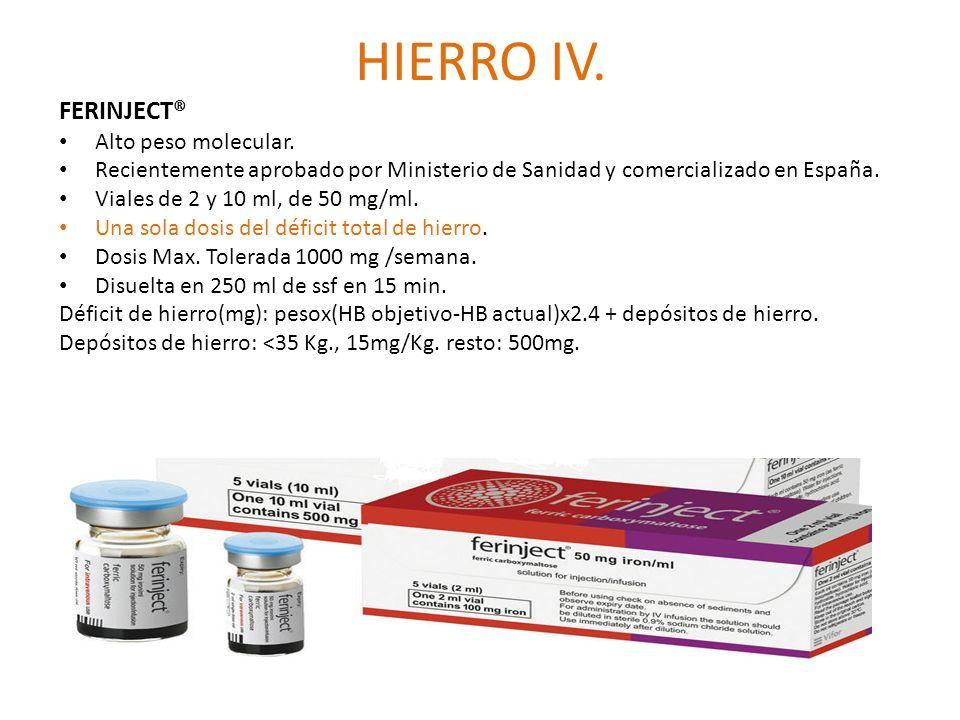 HIERRO IV. FERINJECT® Alto peso molecular. Recientemente aprobado por Ministerio de Sanidad y comercializado en España. Viales de 2 y 10 ml, de 50 mg/