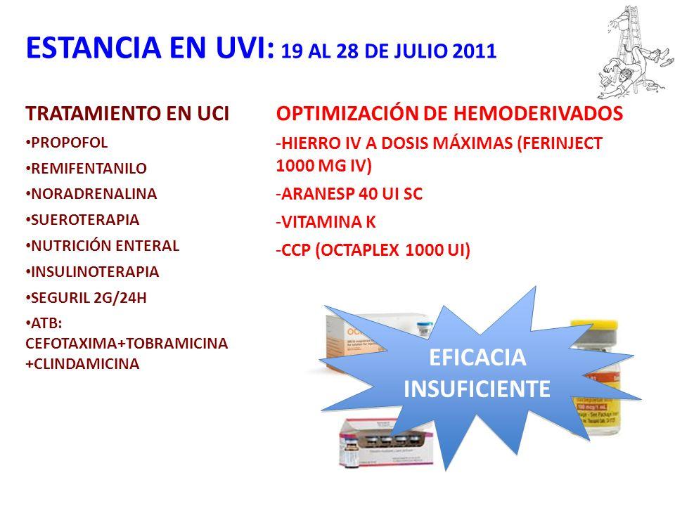 ESTANCIA EN UVI: 19 AL 28 DE JULIO 2011 TRATAMIENTO EN UCI PROPOFOL REMIFENTANILO NORADRENALINA SUEROTERAPIA NUTRICIÓN ENTERAL INSULINOTERAPIA SEGURIL