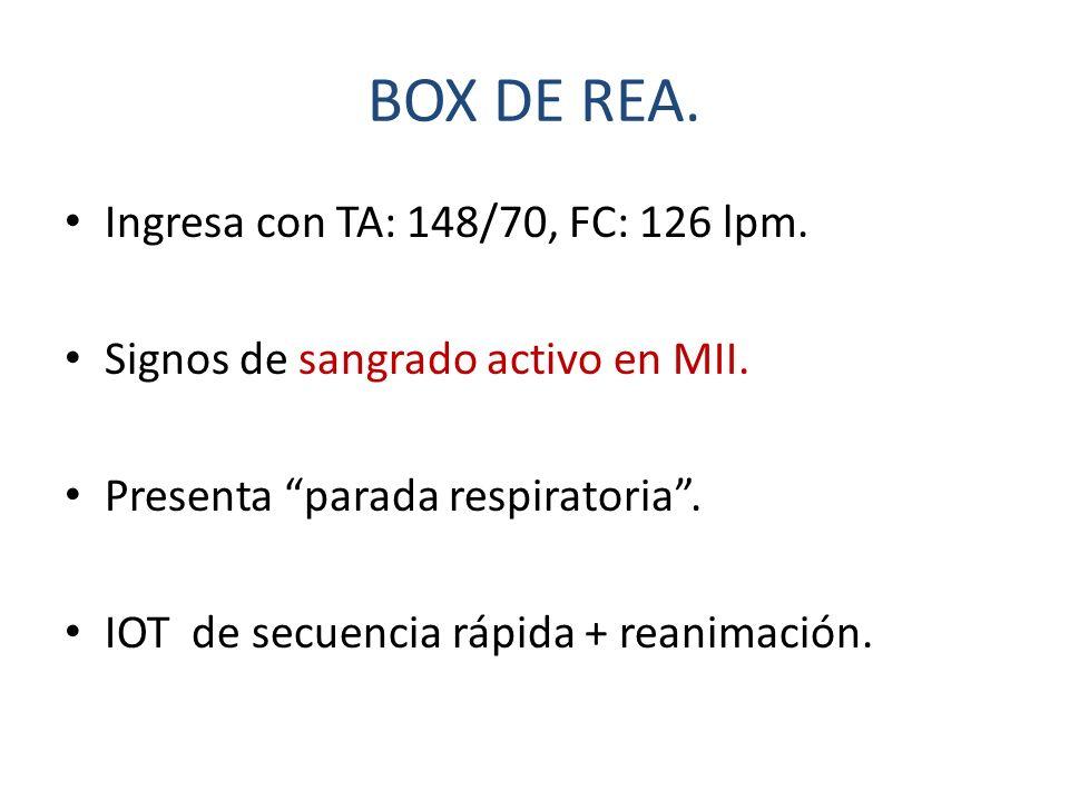 BOX DE REA. Ingresa con TA: 148/70, FC: 126 lpm. Signos de sangrado activo en MII. Presenta parada respiratoria. IOT de secuencia rápida + reanimación