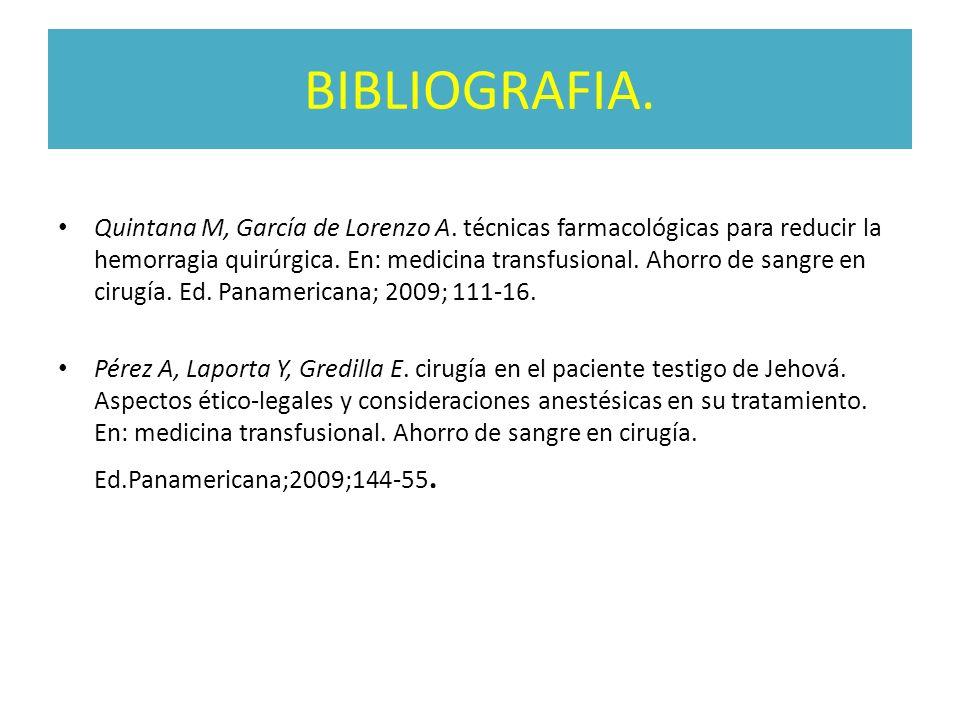 BIBLIOGRAFIA. Quintana M, García de Lorenzo A. técnicas farmacológicas para reducir la hemorragia quirúrgica. En: medicina transfusional. Ahorro de sa