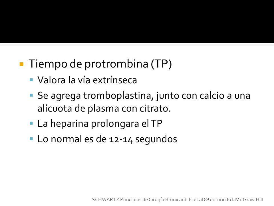 Tiempo de protrombina (TP) Valora la vía extrínseca Se agrega tromboplastina, junto con calcio a una alícuota de plasma con citrato. La heparina prolo