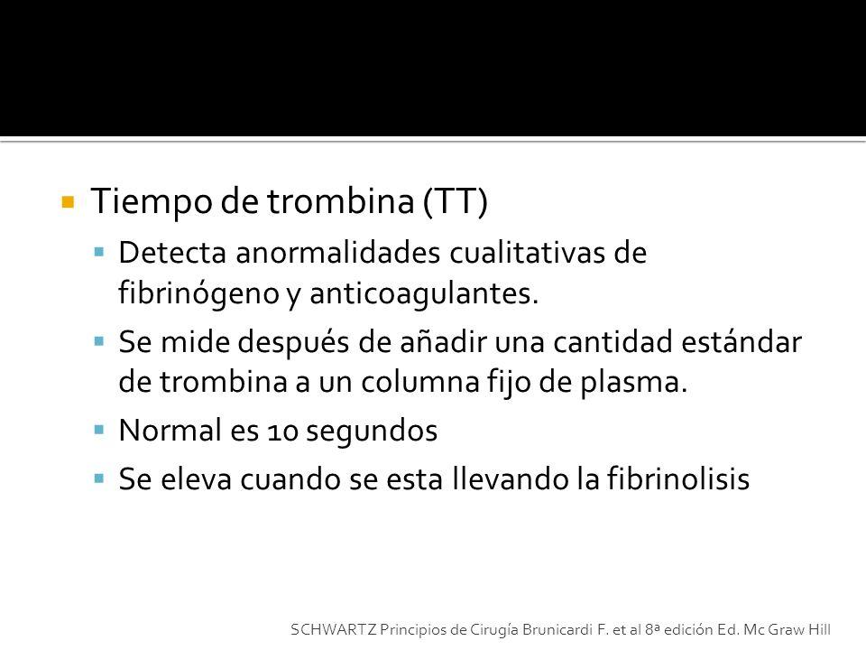 Tiempo de trombina (TT) Detecta anormalidades cualitativas de fibrinógeno y anticoagulantes. Se mide después de añadir una cantidad estándar de trombi