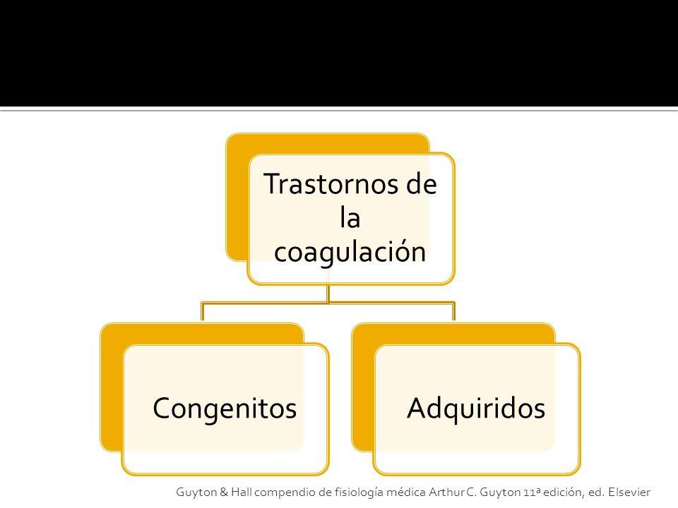 Trastornos de la coagulación CongenitosAdquiridos Guyton & Hall compendio de fisiología médica Arthur C. Guyton 11ª edición, ed. Elsevier