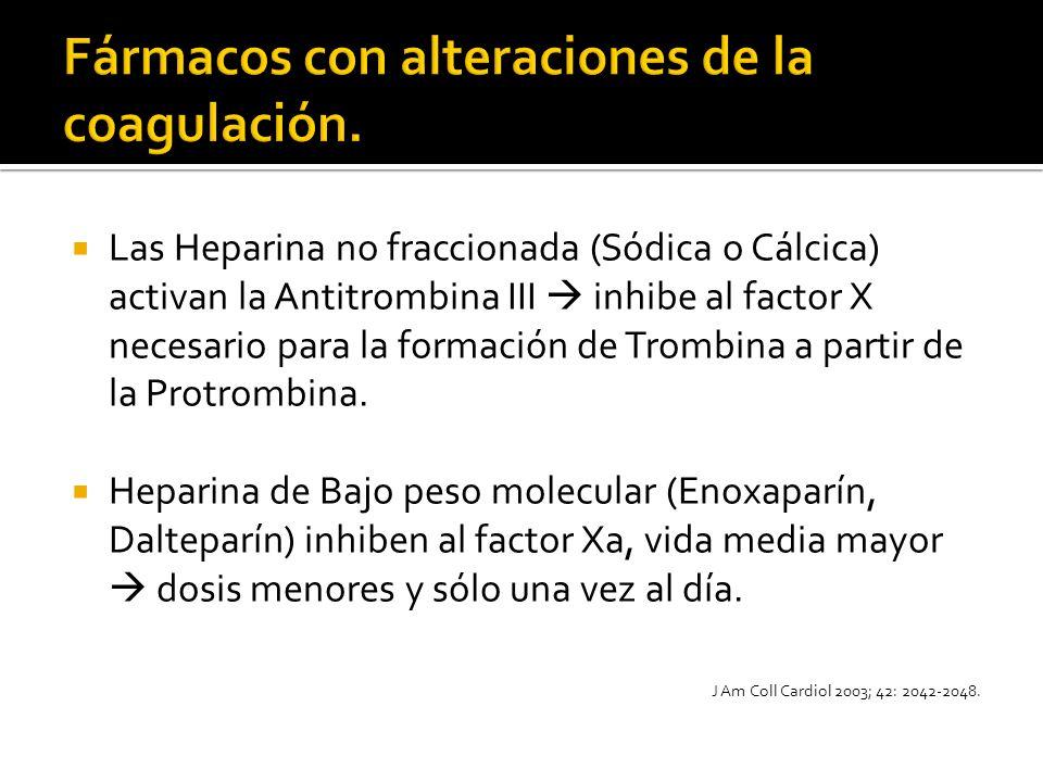 Las Heparina no fraccionada (Sódica o Cálcica) activan la Antitrombina III inhibe al factor X necesario para la formación de Trombina a partir de la P