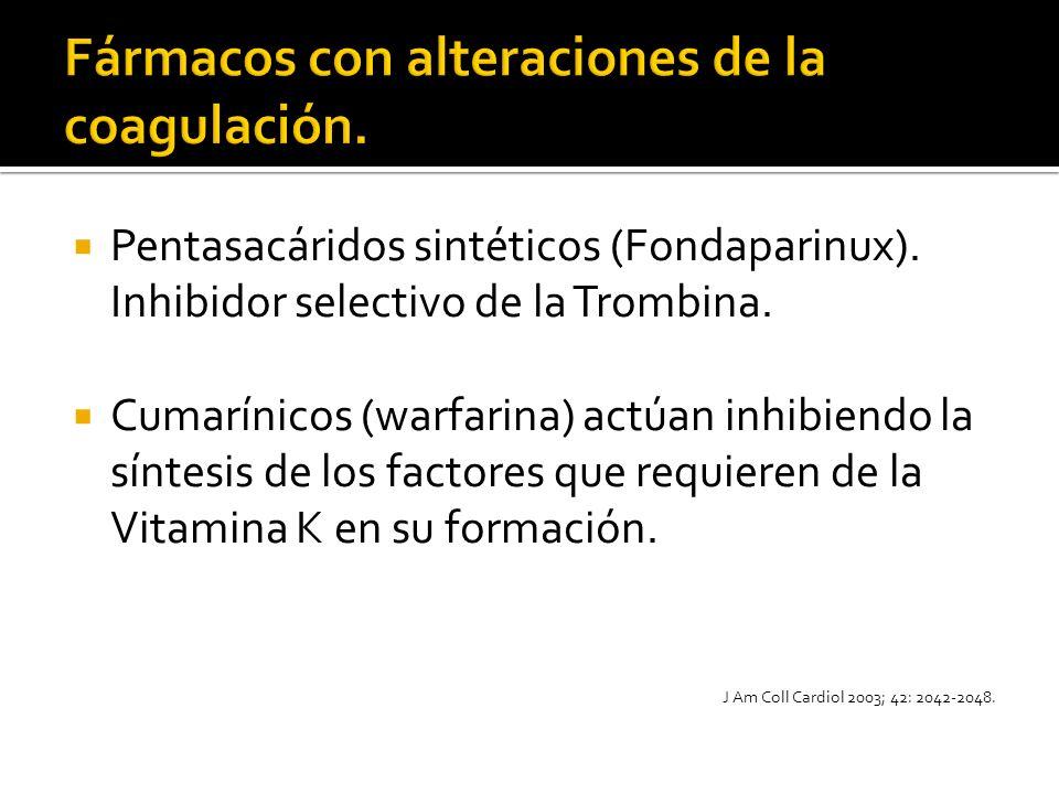 Pentasacáridos sintéticos (Fondaparinux). Inhibidor selectivo de la Trombina. Cumarínicos (warfarina) actúan inhibiendo la síntesis de los factores qu