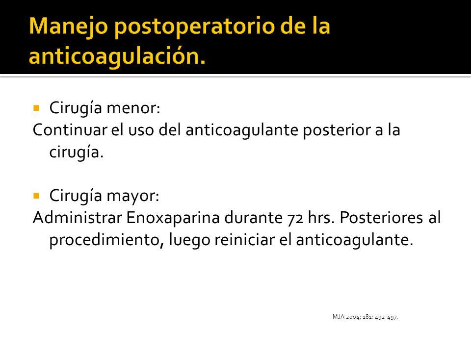 Cirugía menor: Continuar el uso del anticoagulante posterior a la cirugía. Cirugía mayor: Administrar Enoxaparina durante 72 hrs. Posteriores al proce