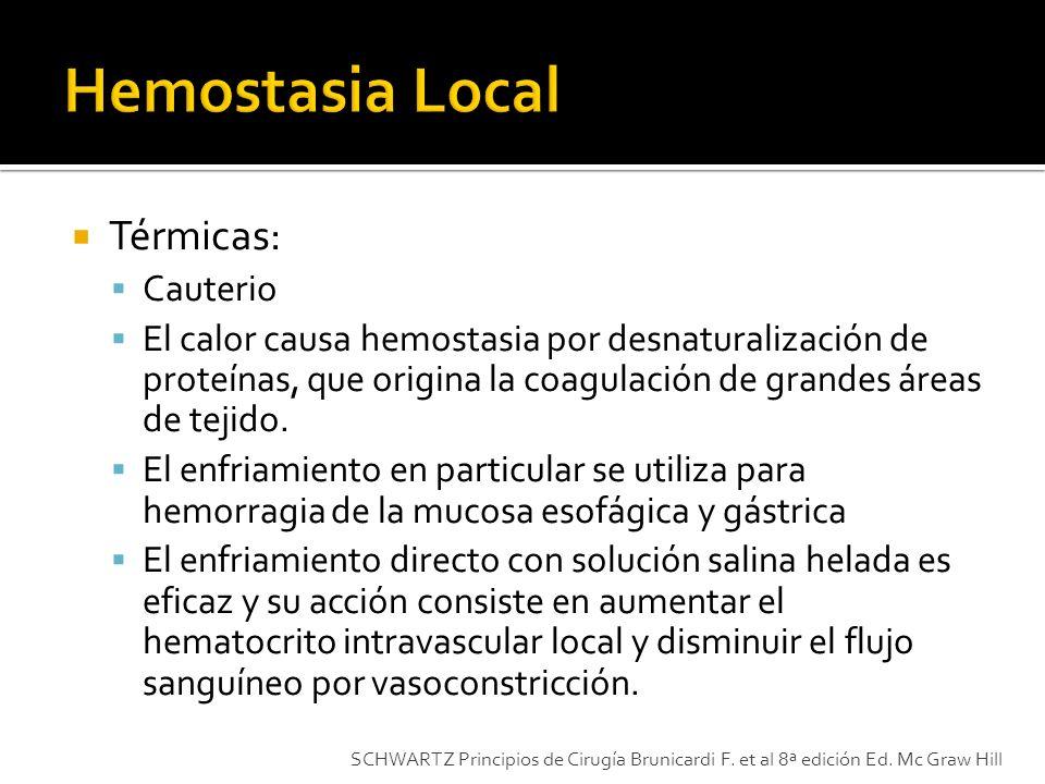 Térmicas: Cauterio El calor causa hemostasia por desnaturalización de proteínas, que origina la coagulación de grandes áreas de tejido. El enfriamient