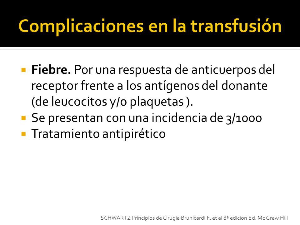 Fiebre. Por una respuesta de anticuerpos del receptor frente a los antígenos del donante (de leucocitos y/o plaquetas ). Se presentan con una incidenc