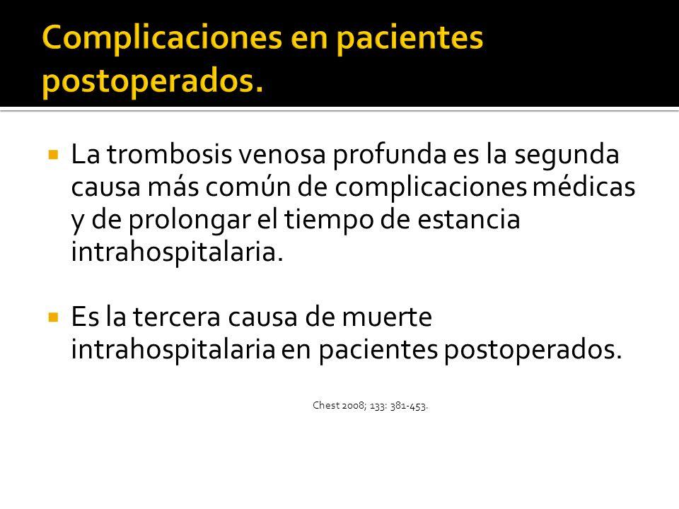 La trombosis venosa profunda es la segunda causa más común de complicaciones médicas y de prolongar el tiempo de estancia intrahospitalaria. Es la ter