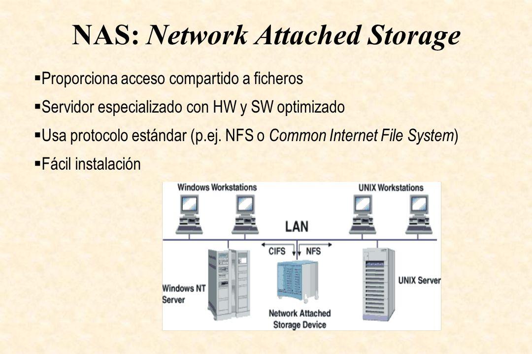 NAS: Network Attached Storage Proporciona acceso compartido a ficheros Servidor especializado con HW y SW optimizado Usa protocolo estándar (p.ej. NFS