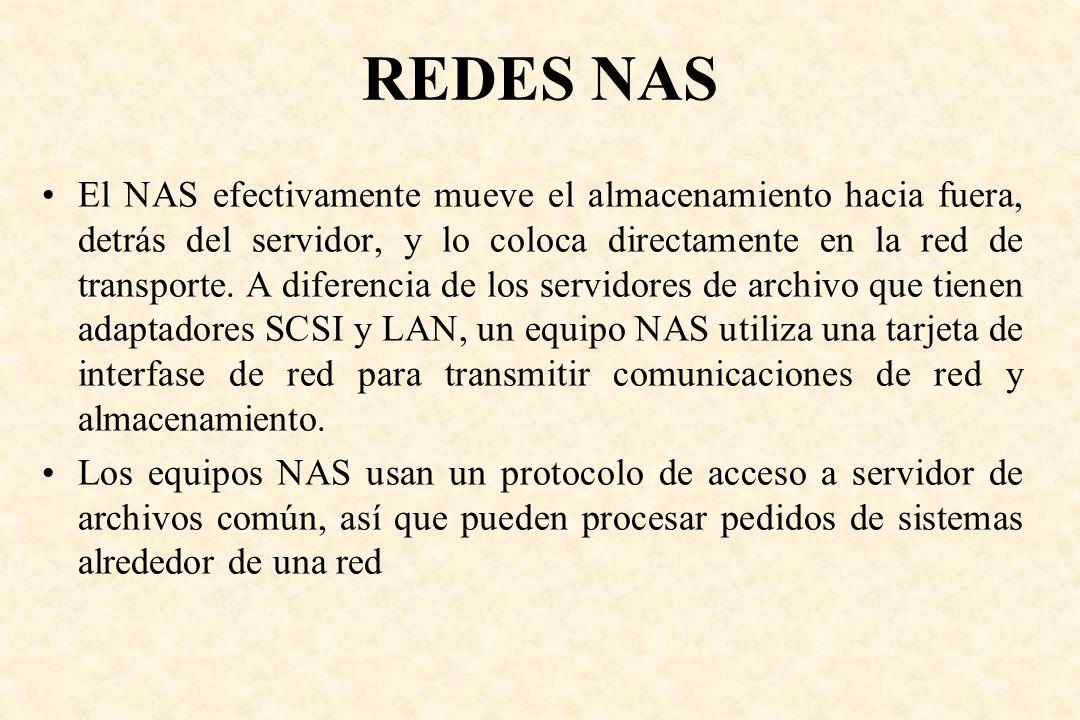 REDES NAS El NAS efectivamente mueve el almacenamiento hacia fuera, detrás del servidor, y lo coloca directamente en la red de transporte. A diferenci