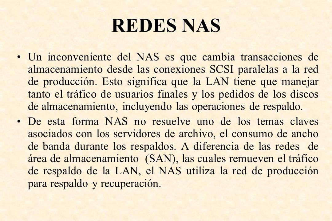 REDES NAS Un inconveniente del NAS es que cambia transacciones de almacenamiento desde las conexiones SCSI paralelas a la red de producción. Esto sign