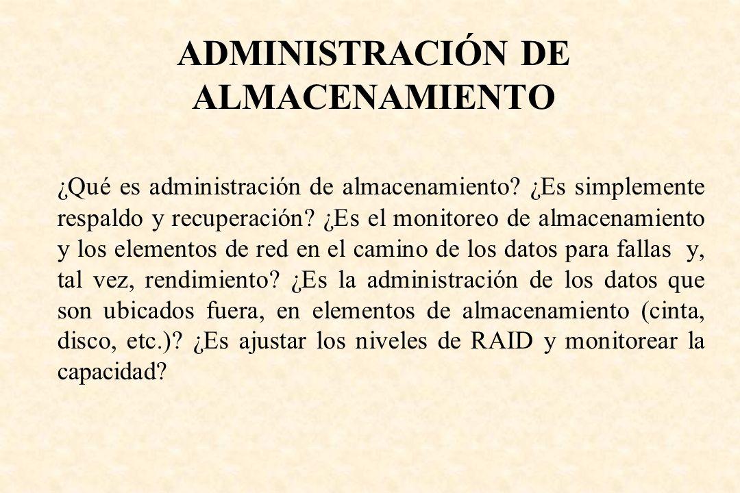 ADMINISTRACIÓN DE ALMACENAMIENTO ¿Qué es administración de almacenamiento? ¿Es simplemente respaldo y recuperación? ¿Es el monitoreo de almacenamiento