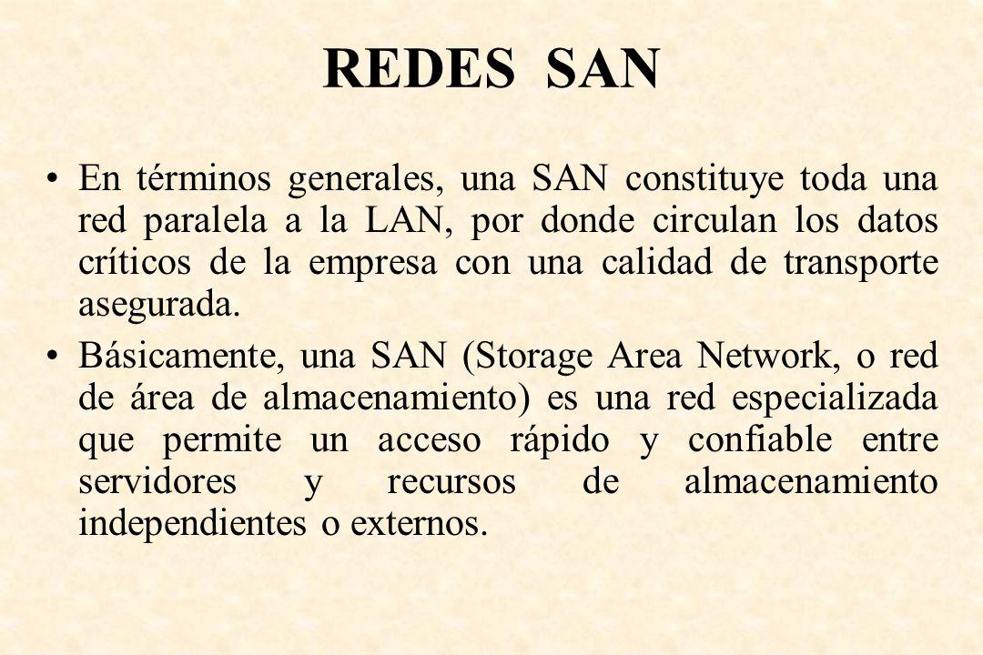 REDES SAN En términos generales, una SAN constituye toda una red paralela a la LAN, por donde circulan los datos críticos de la empresa con una calida