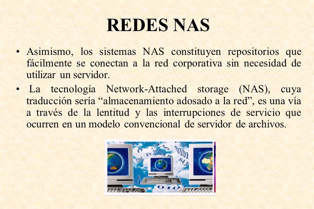 Asimismo, los sistemas NAS constituyen repositorios que fácilmente se conectan a la red corporativa sin necesidad de utilizar un servidor. La tecnolog