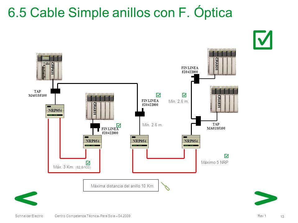 Schneider Electric 13 Centro Competencia Técnica- Pere Sole – 04.2009 Rev 1 6.5 Cable Simple anillos con F. Óptica CRP931 CRA931 TAP MA0185100 TAP MA0