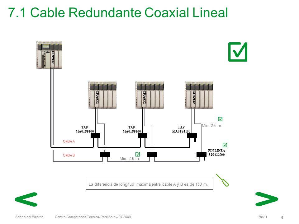 Schneider Electric 7 Centro Competencia Técnica- Pere Sole – 04.2009 Rev 1 7.2 Cable Redundante Coaxial Ramificada CRP932 CRA932 CRA931 TAP MA0185100 CRA932 FIN LINEA 520422000 DERIVACION MA0331000 La distancia entre la CRP y la derivación MA0331000 debe ser entre 2,6 m.