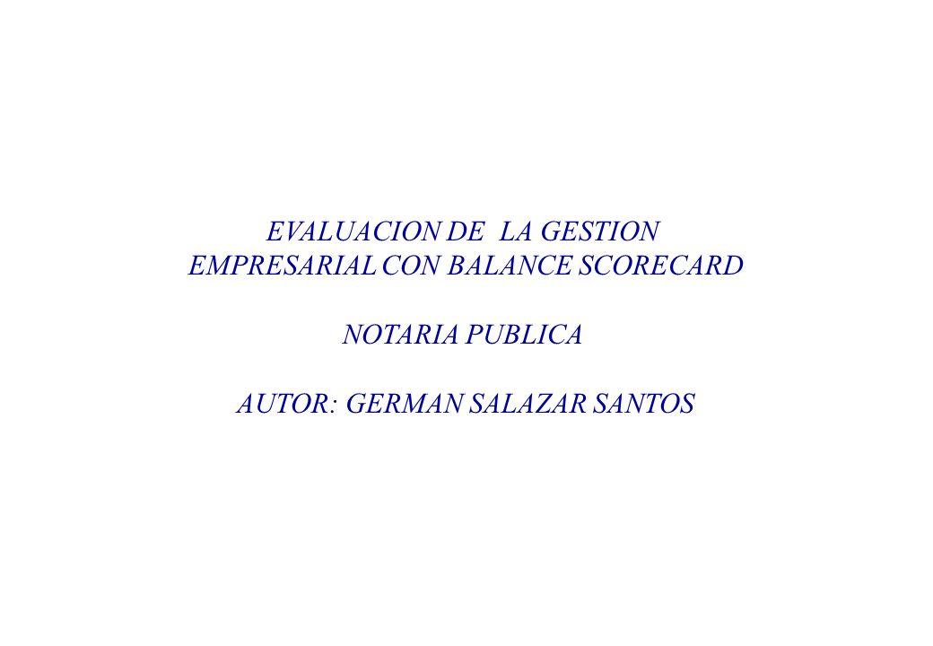 EVALUACION DE LA GESTION EMPRESARIAL CON BALANCE SCORECARD NOTARIA PUBLICA AUTOR: GERMAN SALAZAR SANTOS