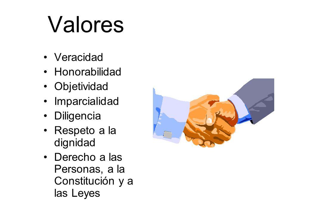 Valores Veracidad Honorabilidad Objetividad Imparcialidad Diligencia Respeto a la dignidad Derecho a las Personas, a la Constitución y a las Leyes