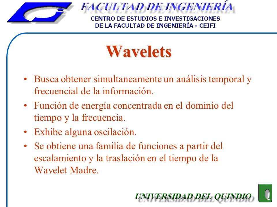 Wavelets Busca obtener simultaneamente un análisis temporal y frecuencial de la información. Función de energía concentrada en el dominio del tiempo y