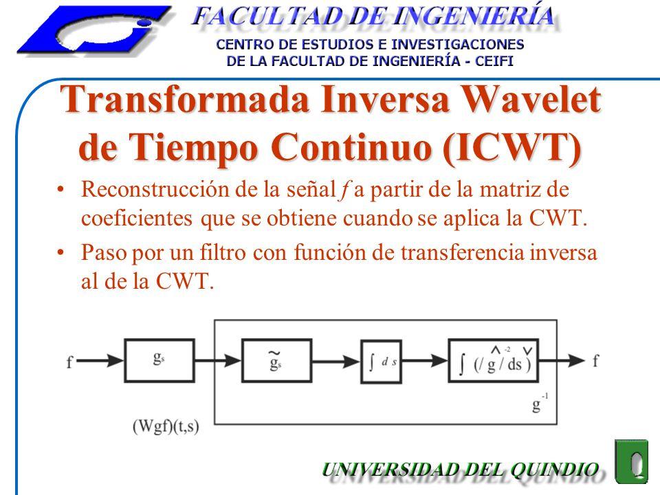 Transformada Inversa Wavelet de Tiempo Continuo (ICWT) Reconstrucción de la señal f a partir de la matriz de coeficientes que se obtiene cuando se apl