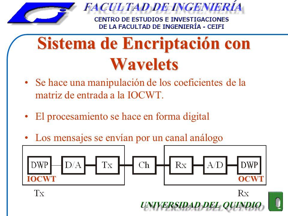 Sistema de Encriptación con Wavelets Se hace una manipulación de los coeficientes de la matriz de entrada a la IOCWT. El procesamiento se hace en form