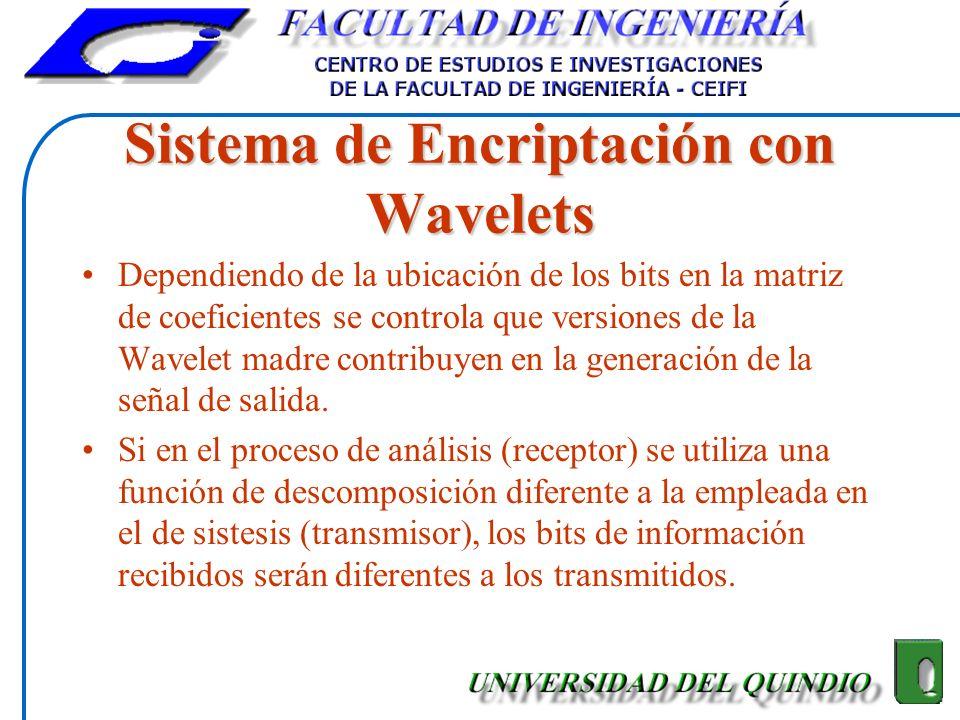 Sistema de Encriptación con Wavelets Dependiendo de la ubicación de los bits en la matriz de coeficientes se controla que versiones de la Wavelet madr