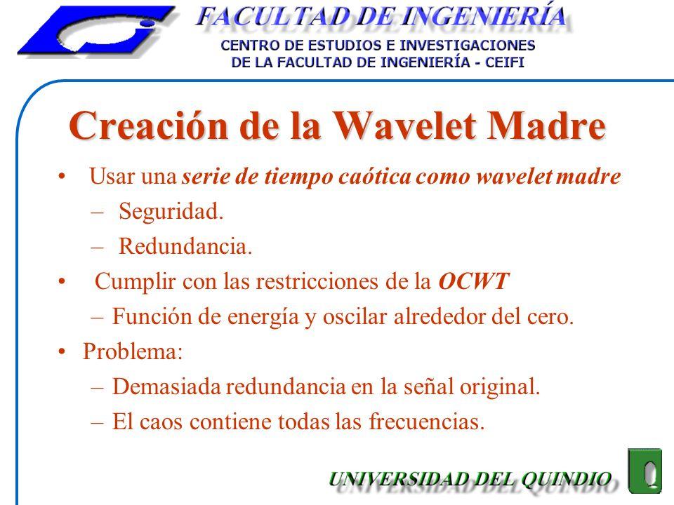 Creación de la Wavelet Madre Usar una serie de tiempo caótica como wavelet madre – Seguridad. – Redundancia. Cumplir con las restricciones de la OCWT