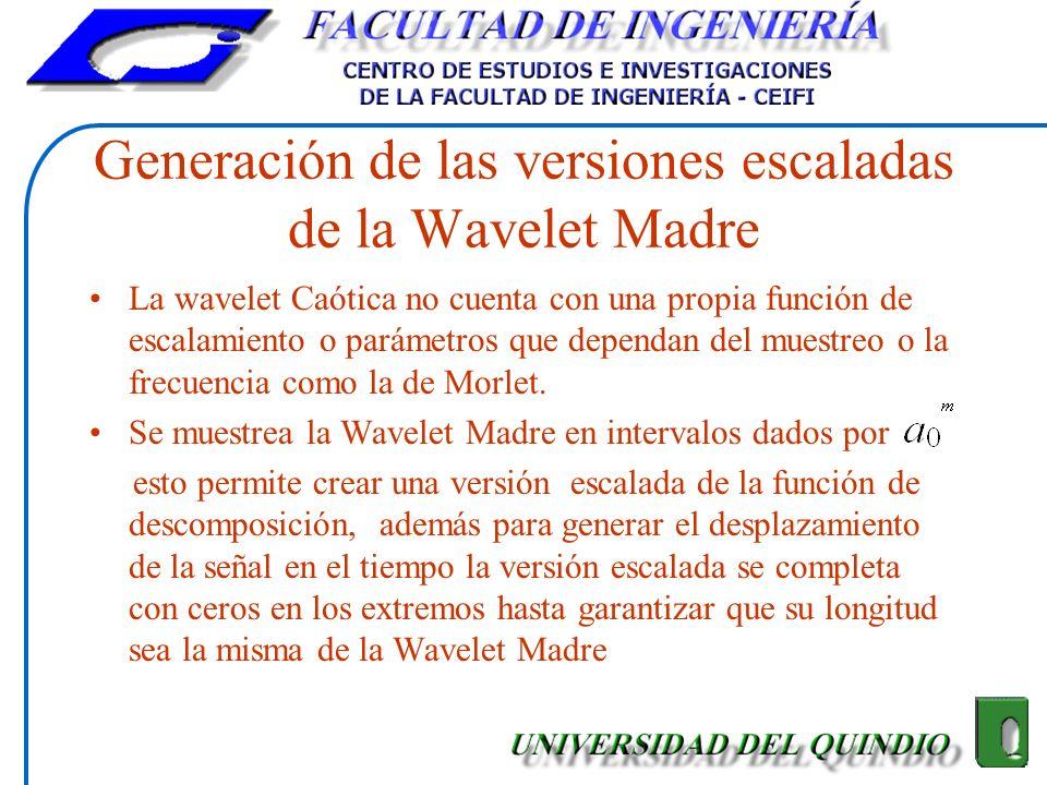Generación de las versiones escaladas de la Wavelet Madre La wavelet Caótica no cuenta con una propia función de escalamiento o parámetros que dependa