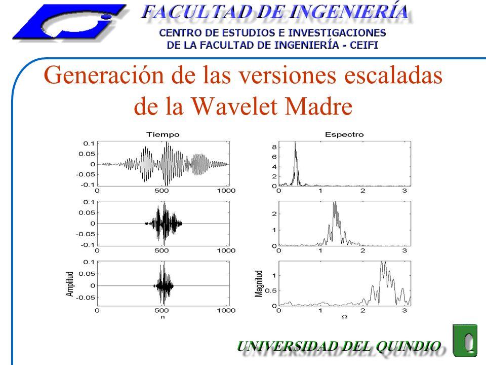 Generación de las versiones escaladas de la Wavelet Madre
