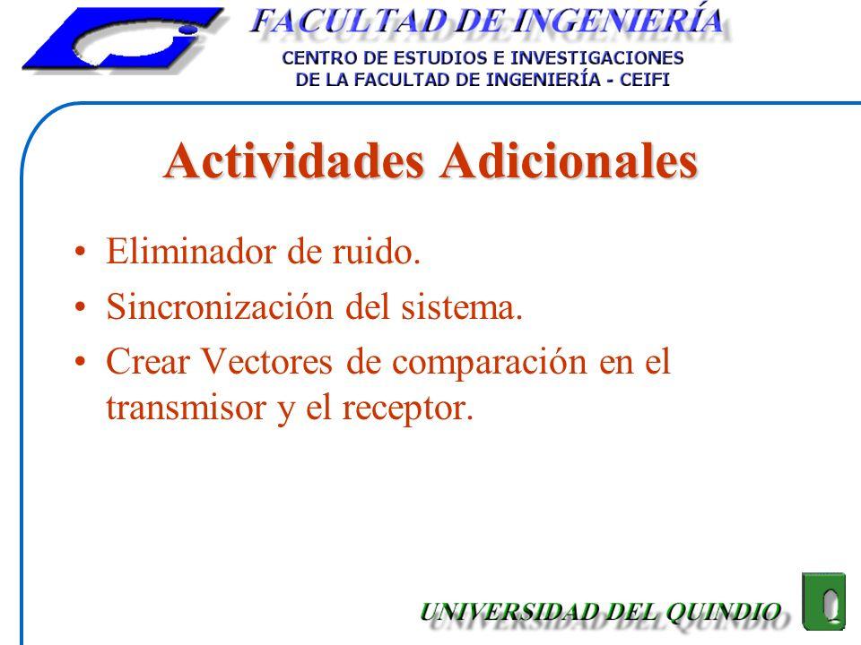 Actividades Adicionales Eliminador de ruido. Sincronización del sistema. Crear Vectores de comparación en el transmisor y el receptor.