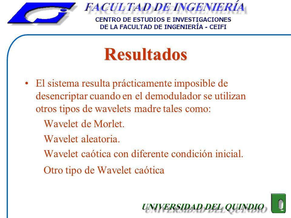 Resultados El sistema resulta prácticamente imposible de desencriptar cuando en el demodulador se utilizan otros tipos de wavelets madre tales como: W