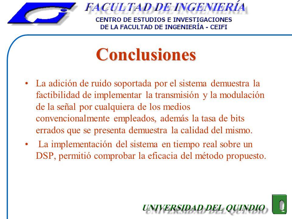 Conclusiones La adición de ruido soportada por el sistema demuestra la factibilidad de implementar la transmisión y la modulación de la señal por cual