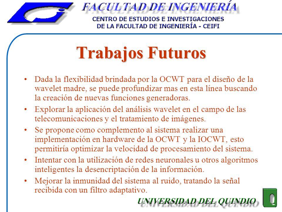 Trabajos Futuros Dada la flexibilidad brindada por la OCWT para el diseño de la wavelet madre, se puede profundizar mas en esta línea buscando la crea