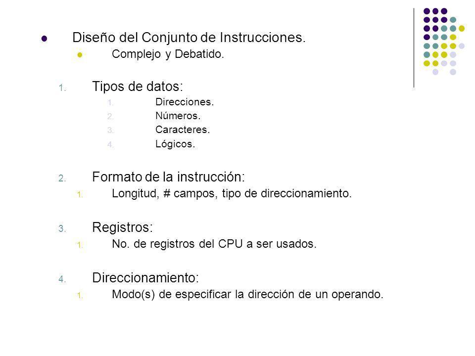 Diseño del Conjunto de Instrucciones. Complejo y Debatido. 1. Tipos de datos: 1. Direcciones. 2. Números. 3. Caracteres. 4. Lógicos. 2. Formato de la