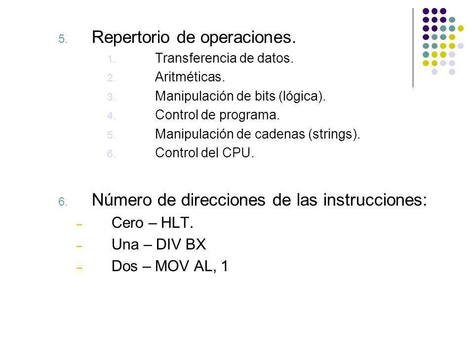 5. Repertorio de operaciones. 1. Transferencia de datos. 2. Aritméticas. 3. Manipulación de bits (lógica). 4. Control de programa. 5. Manipulación de