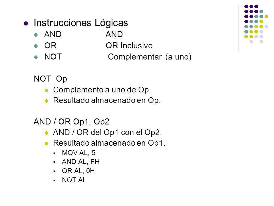 Instrucciones Lógicas ANDAND OROR Inclusivo NOT Complementar (a uno) NOT Op Complemento a uno de Op. Resultado almacenado en Op. AND / OR Op1, Op2 AND