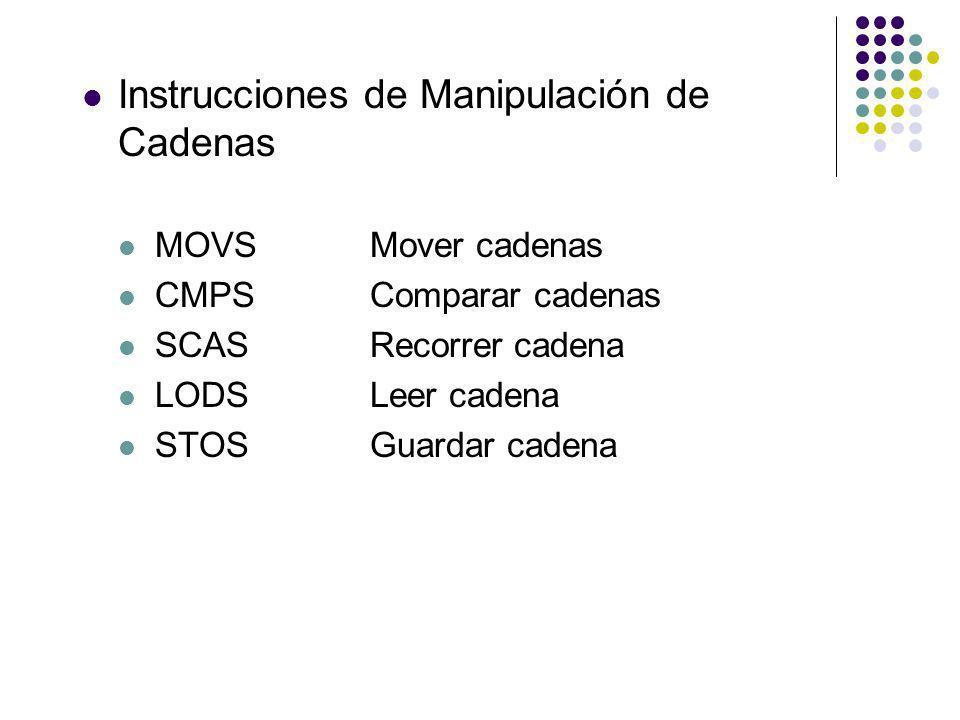 Instrucciones de Manipulación de Cadenas MOVSMover cadenas CMPSComparar cadenas SCASRecorrer cadena LODSLeer cadena STOSGuardar cadena