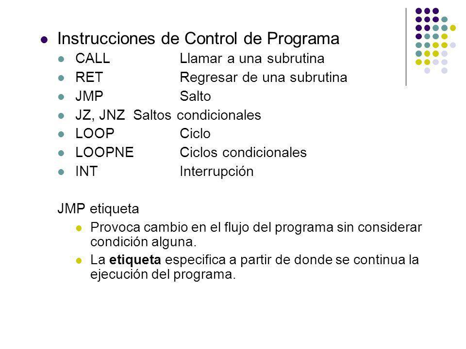 Instrucciones de Control de Programa CALLLlamar a una subrutina RETRegresar de una subrutina JMPSalto JZ, JNZSaltos condicionales LOOPCiclo LOOPNECicl