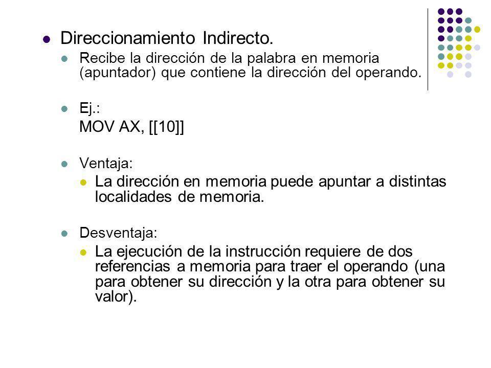 Direccionamiento Indirecto. Recibe la dirección de la palabra en memoria (apuntador) que contiene la dirección del operando. Ej.: MOV AX, [[10]] Venta