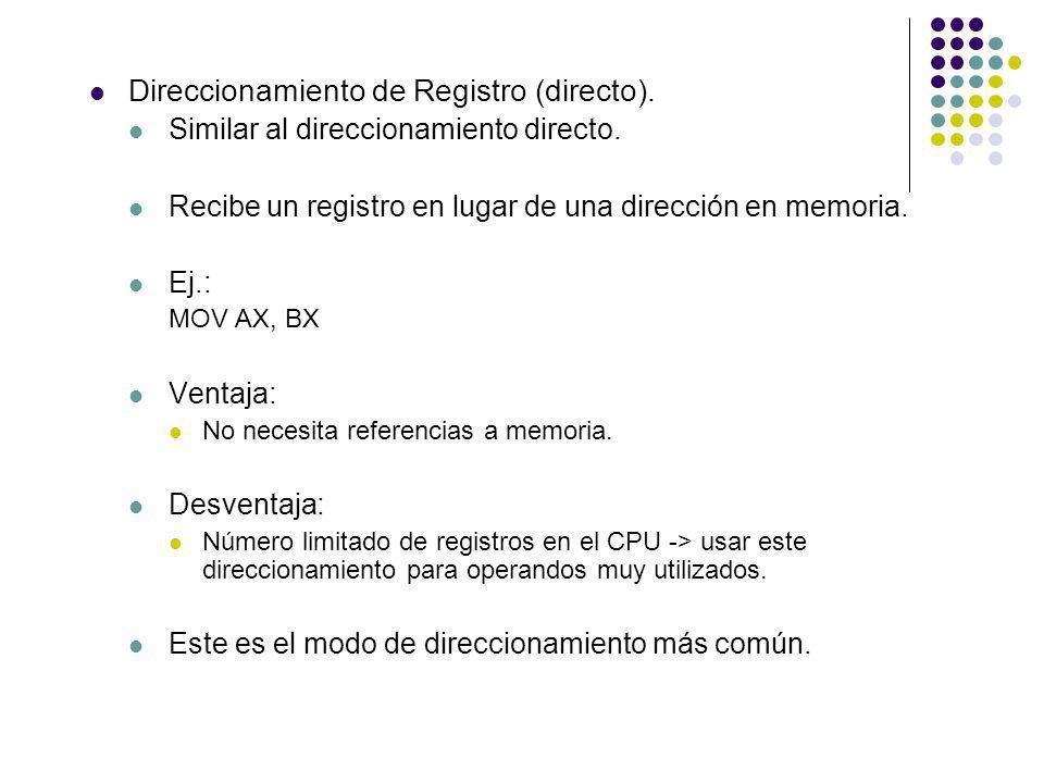 Direccionamiento de Registro (directo). Similar al direccionamiento directo. Recibe un registro en lugar de una dirección en memoria. Ej.: MOV AX, BX