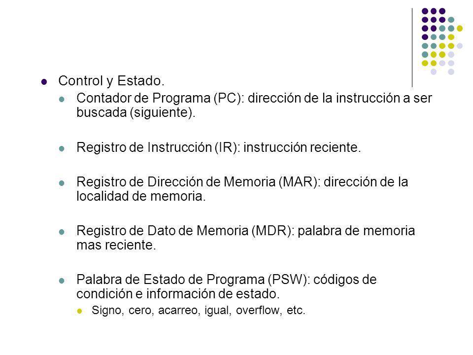 Control y Estado. Contador de Programa (PC): dirección de la instrucción a ser buscada (siguiente). Registro de Instrucción (IR): instrucción reciente
