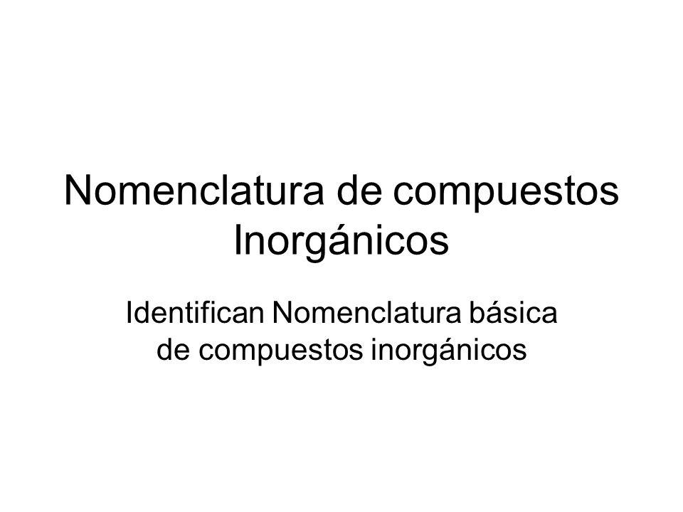 Nomenclatura de compuestos Inorgánicos Identifican Nomenclatura básica de compuestos inorgánicos