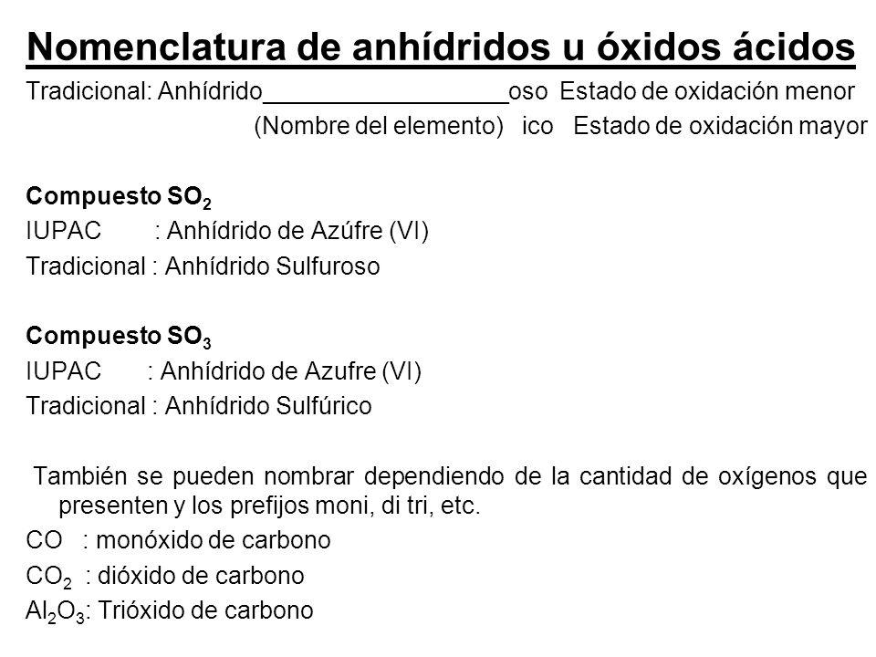 Nomenclatura de anhídridos u óxidos ácidos Tradicional: Anhídrido__________________oso Estado de oxidación menor (Nombre del elemento) ico Estado de o
