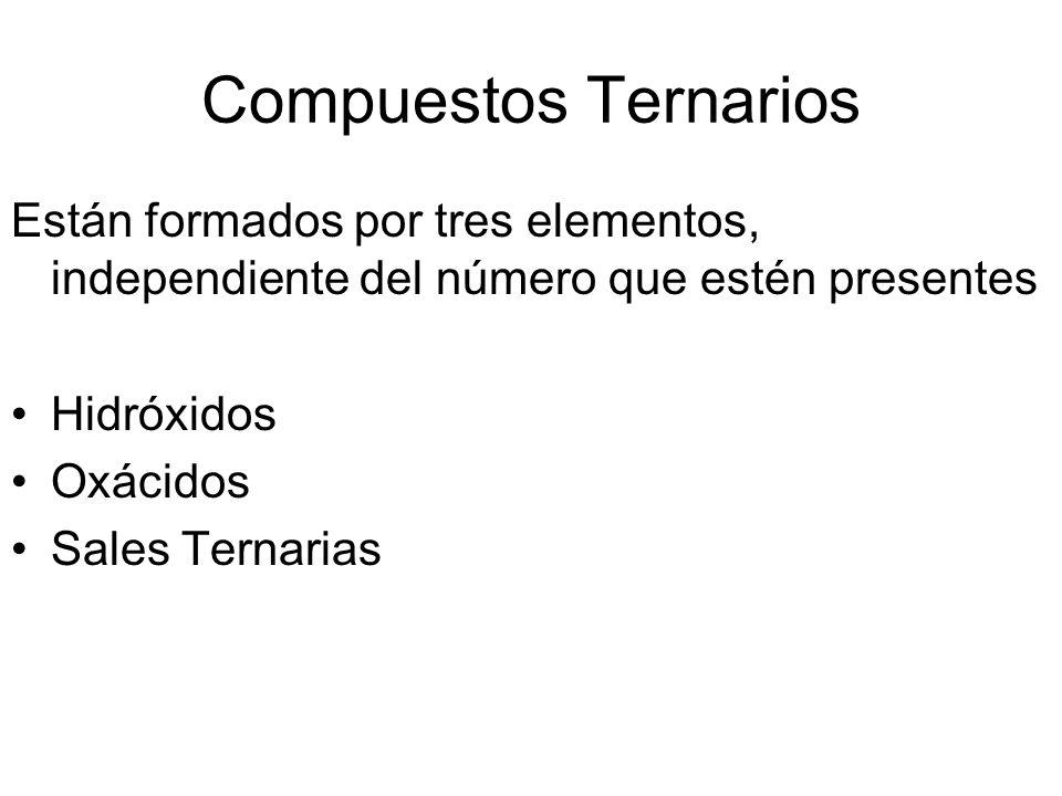Compuestos Ternarios Están formados por tres elementos, independiente del número que estén presentes Hidróxidos Oxácidos Sales Ternarias